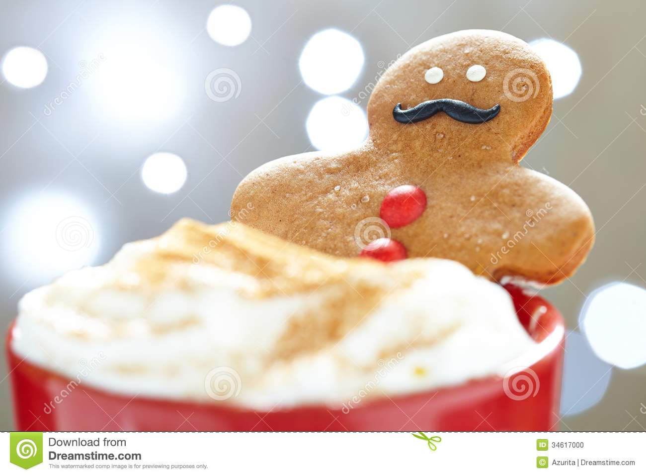 Gingerbread Man In Hot Chocolate Stock Photo - Image: 34617000