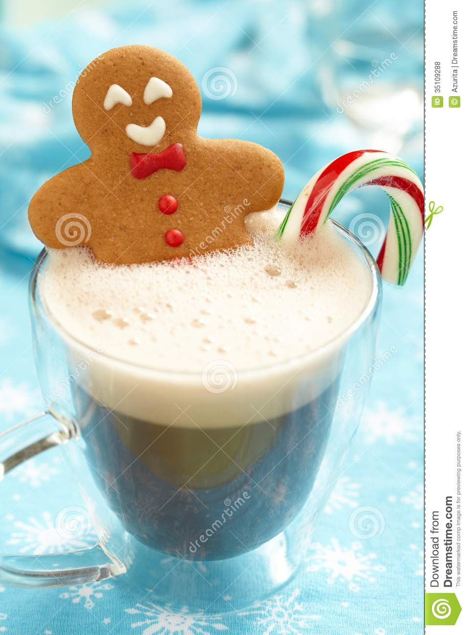 Gingerbread Man In Hot Chocolate Stock Photo Image 35109288