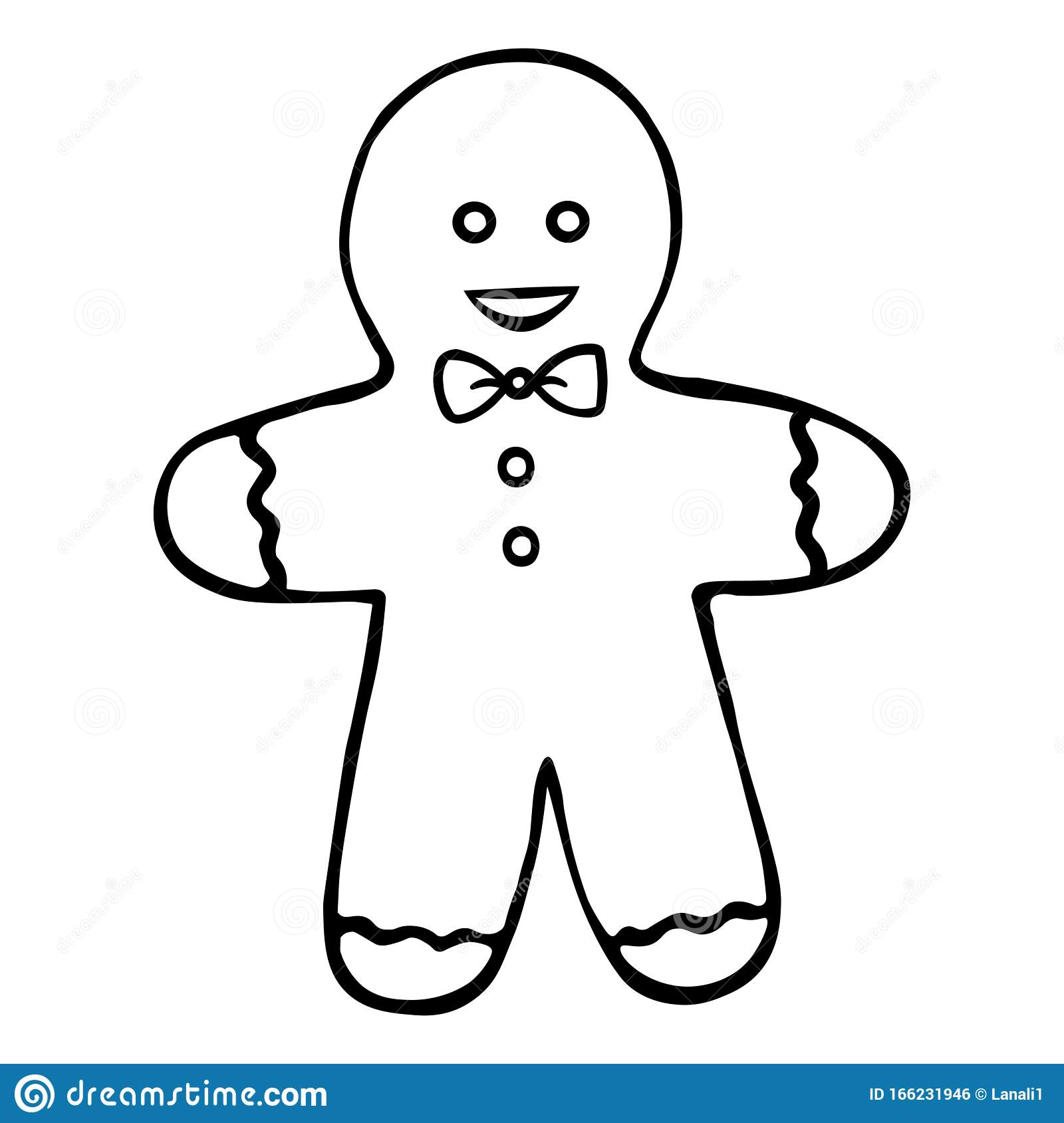 - Gingerbread Man. Shortbread. Boy. Colorless Background. Coloring