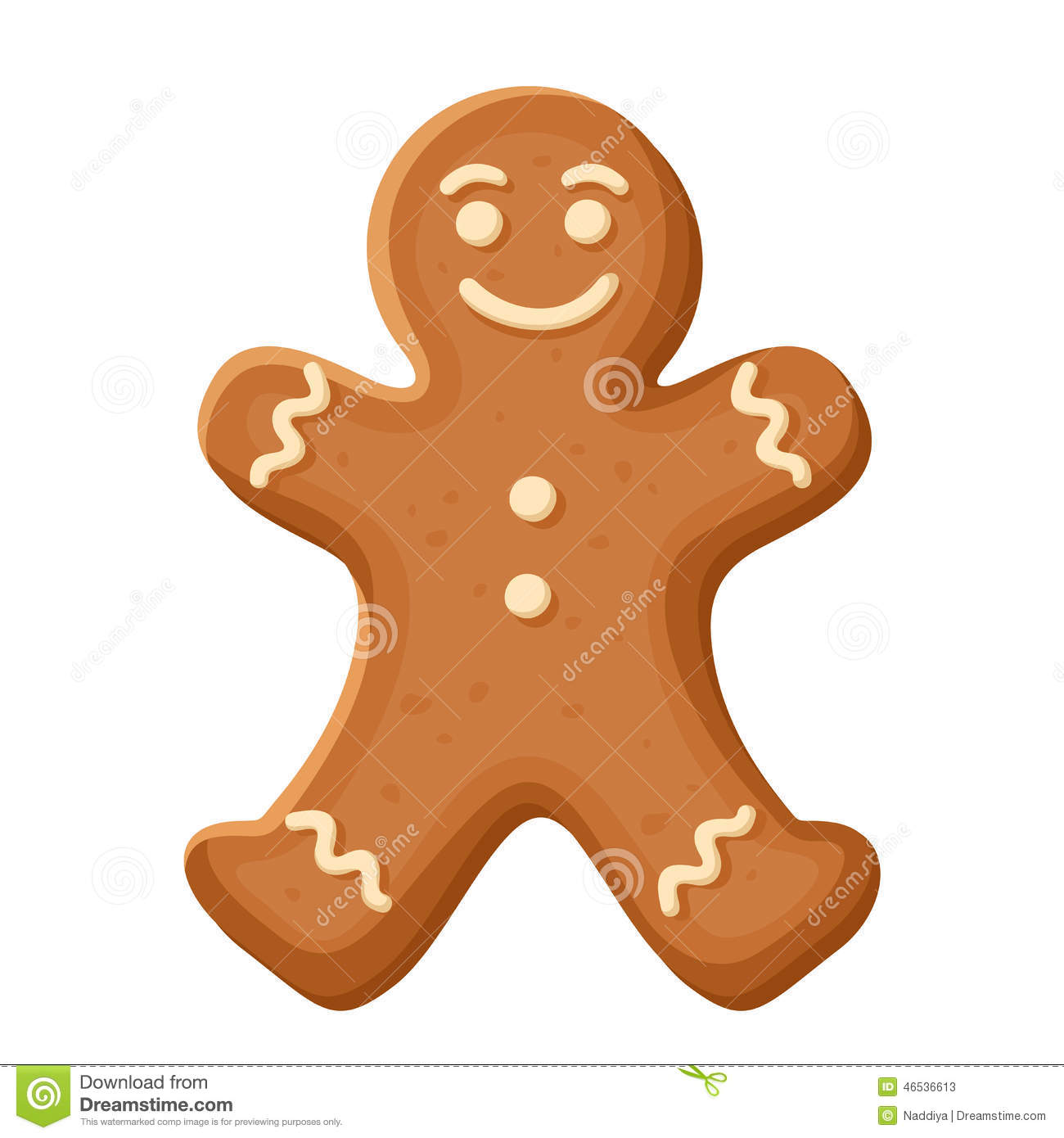 ... Christmas illustration of gingerbread man cookie isolated on white