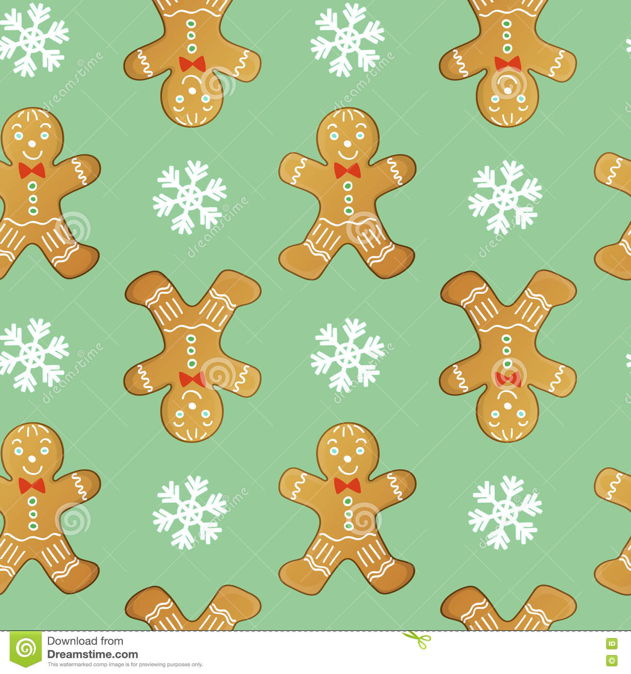 Gingerbread men seamless vector pattern