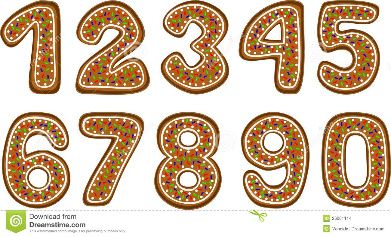 gingerbread numbers stock vector  illustration of letter