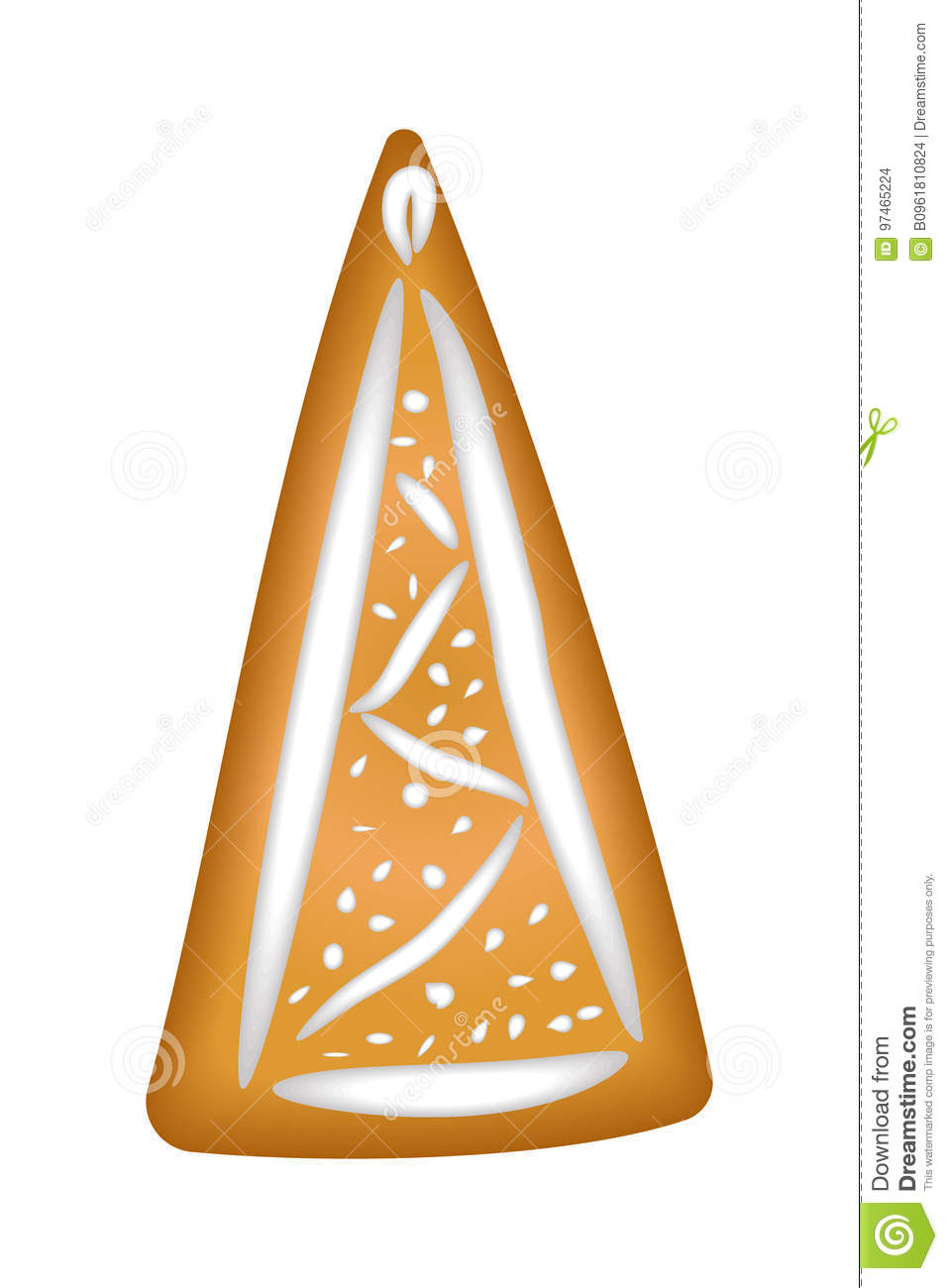 Gingerbread tree with glaze. Isolated. Christmas. Handmade. Draw