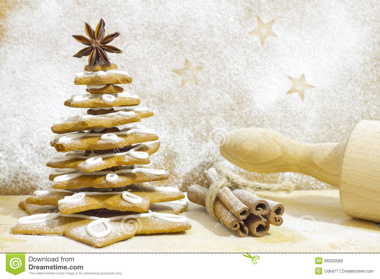 Kitchen Christmas Tree Gingerbread Tree In The Kitchen Christmas Baking Royalty Free