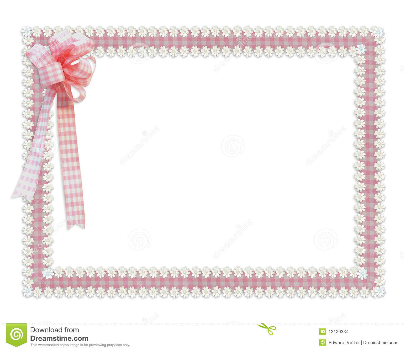 Gingham Ribbons Border Stock Illustration Illustration Of