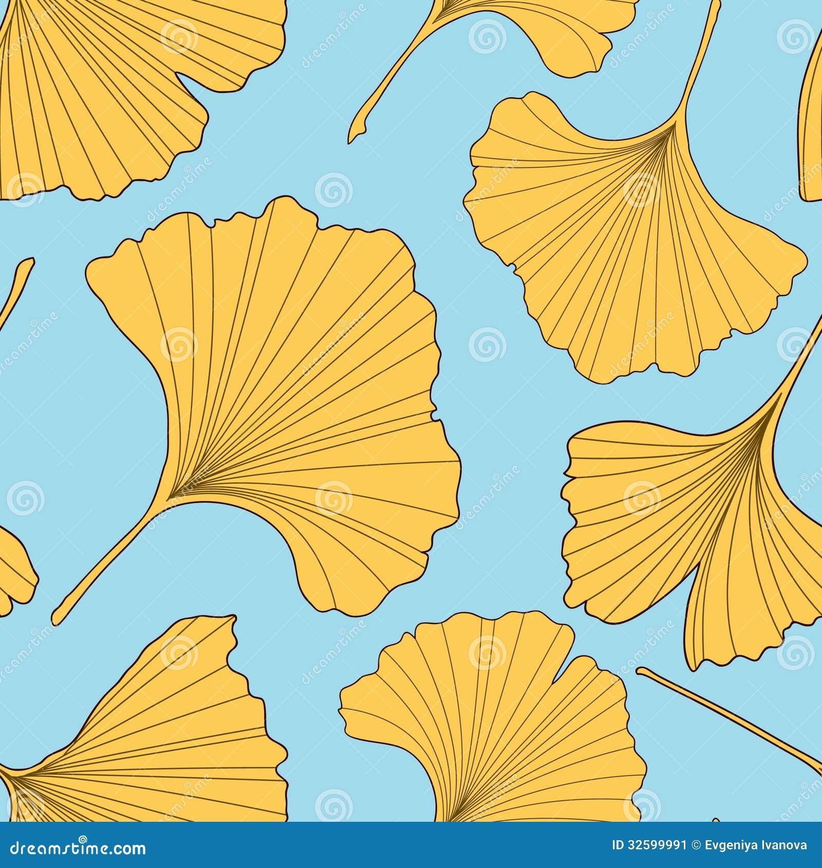 ginkgo leaves seamless pattern stock illustration illustration of
