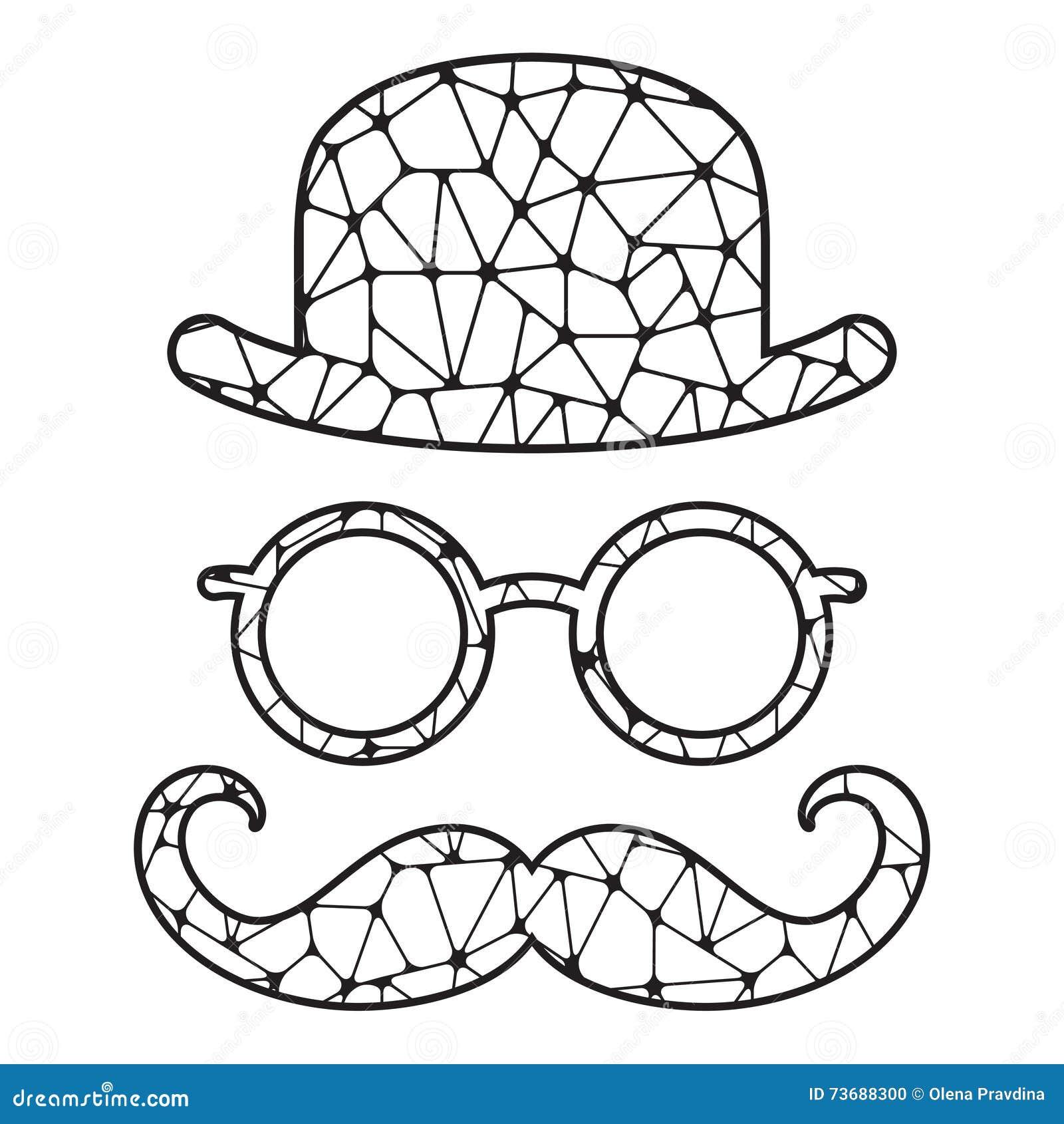 Giocatore di bocce vetri e baffi stilizzati in bianco e - Pagine a colori in bianco e nero ...
