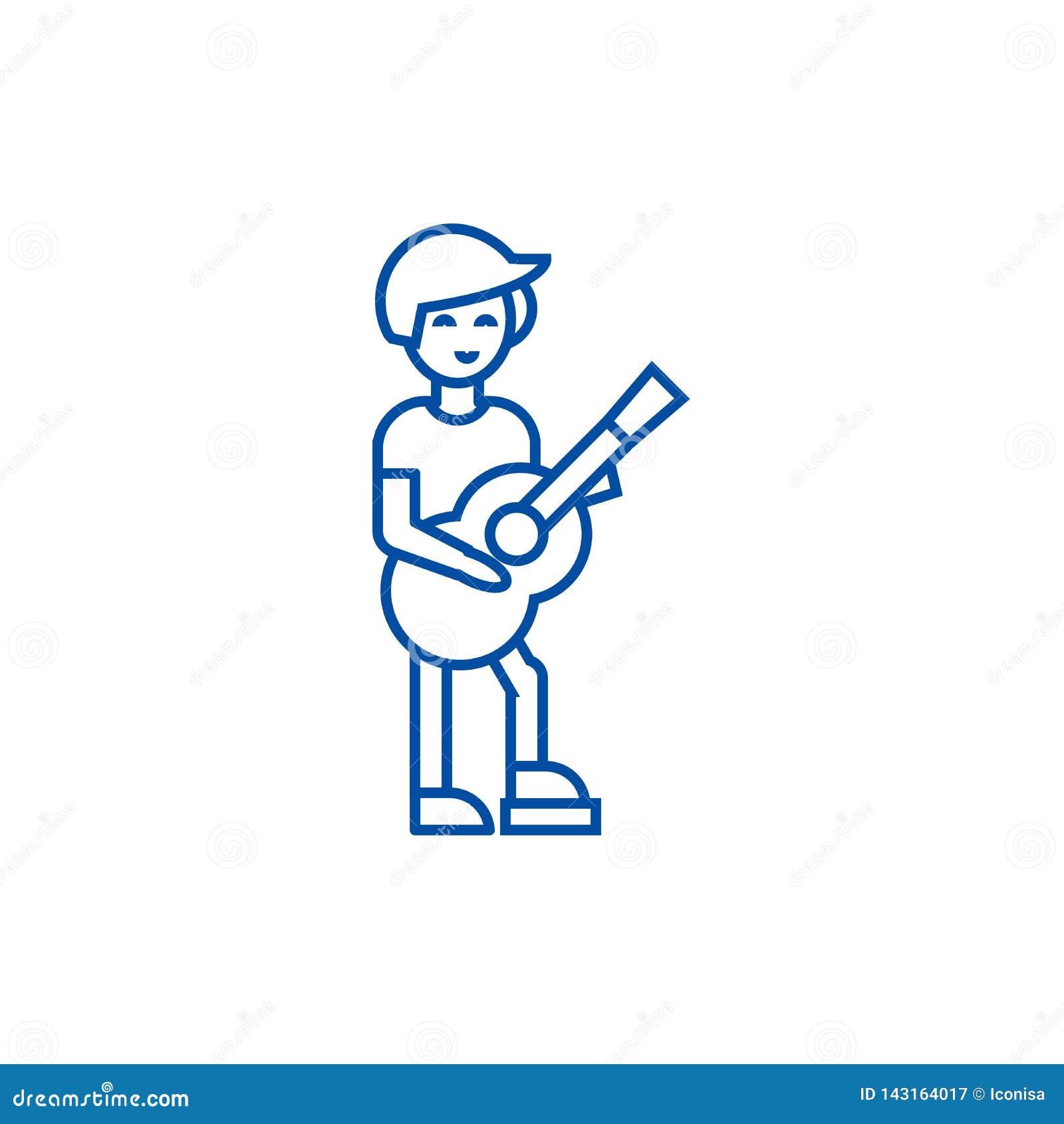Giocatore di chitarra, linea concetto di flamenco dell icona Giocatore di chitarra, simbolo piano di vettore di flamenco, segno,