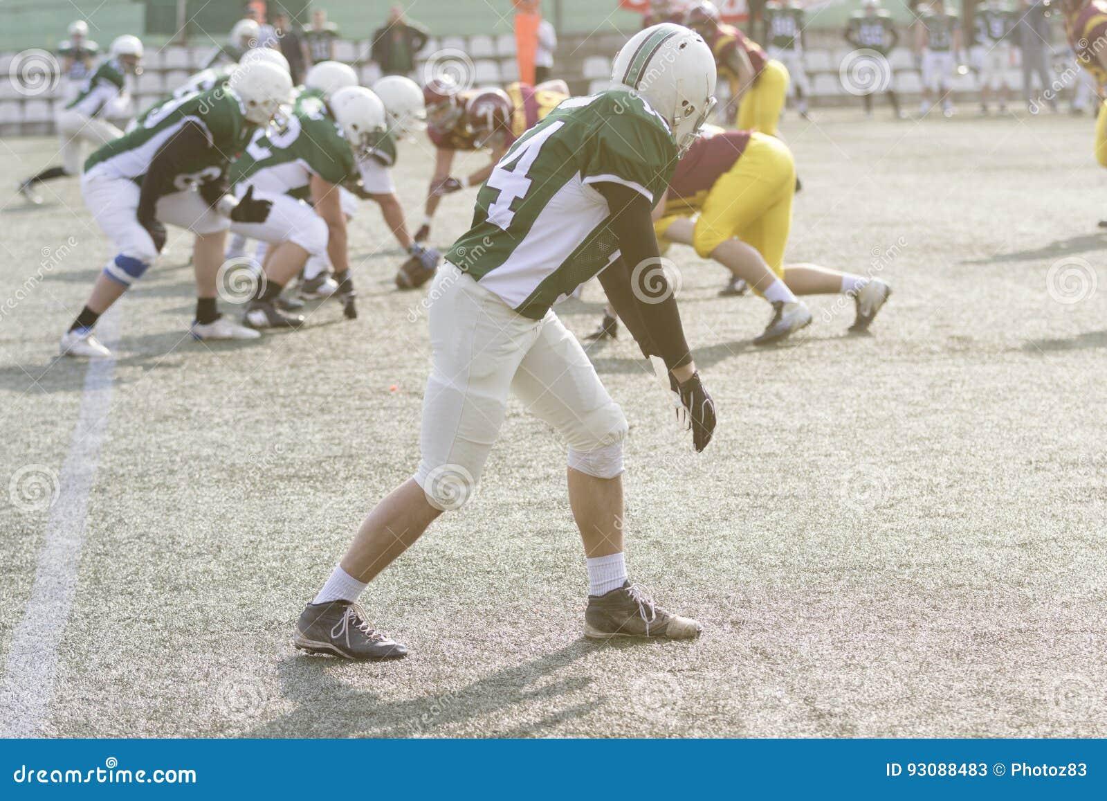 Giocatore di football americano durante il gioco
