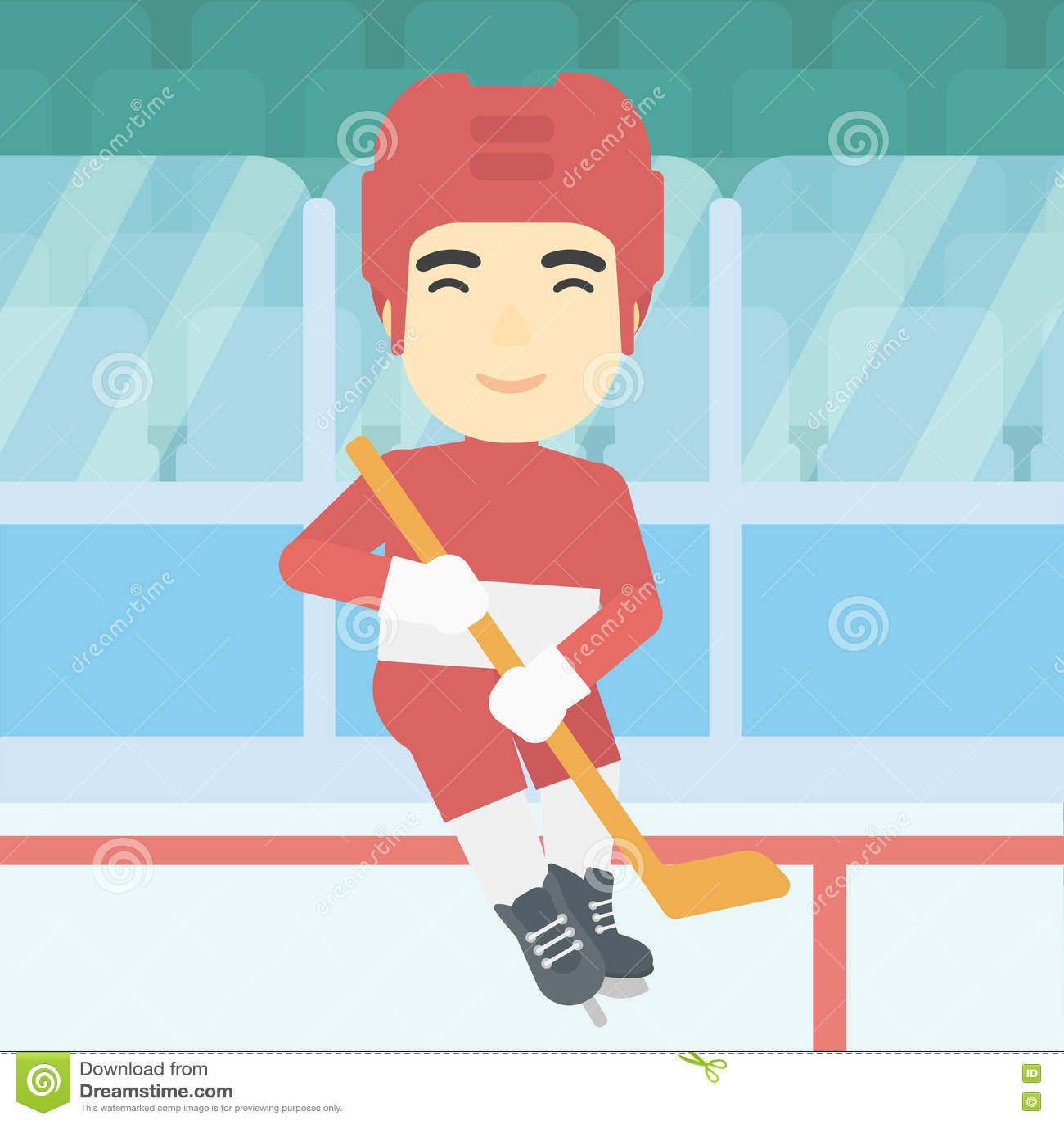 Giocatore di hockey su ghiaccio con l illustrazione di vettore del bastone