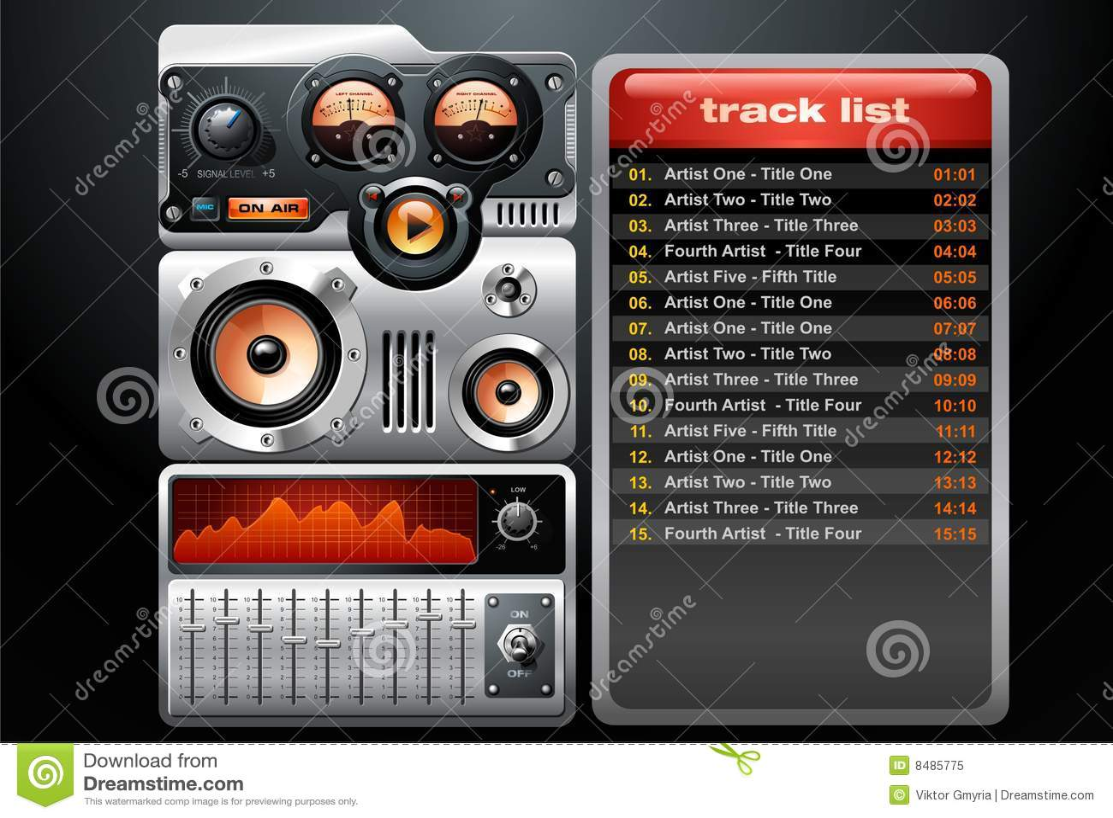 Giocatore di MP3 arancione di analogo