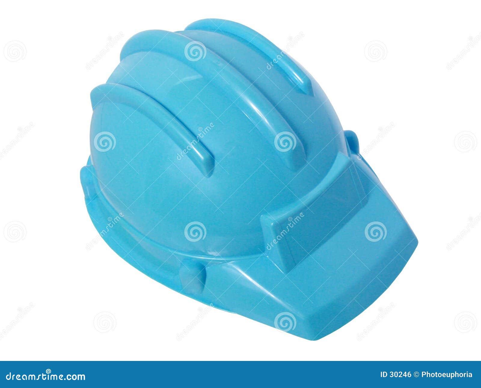 Giocattoli: Casco di plastica blu luminoso della costruzione