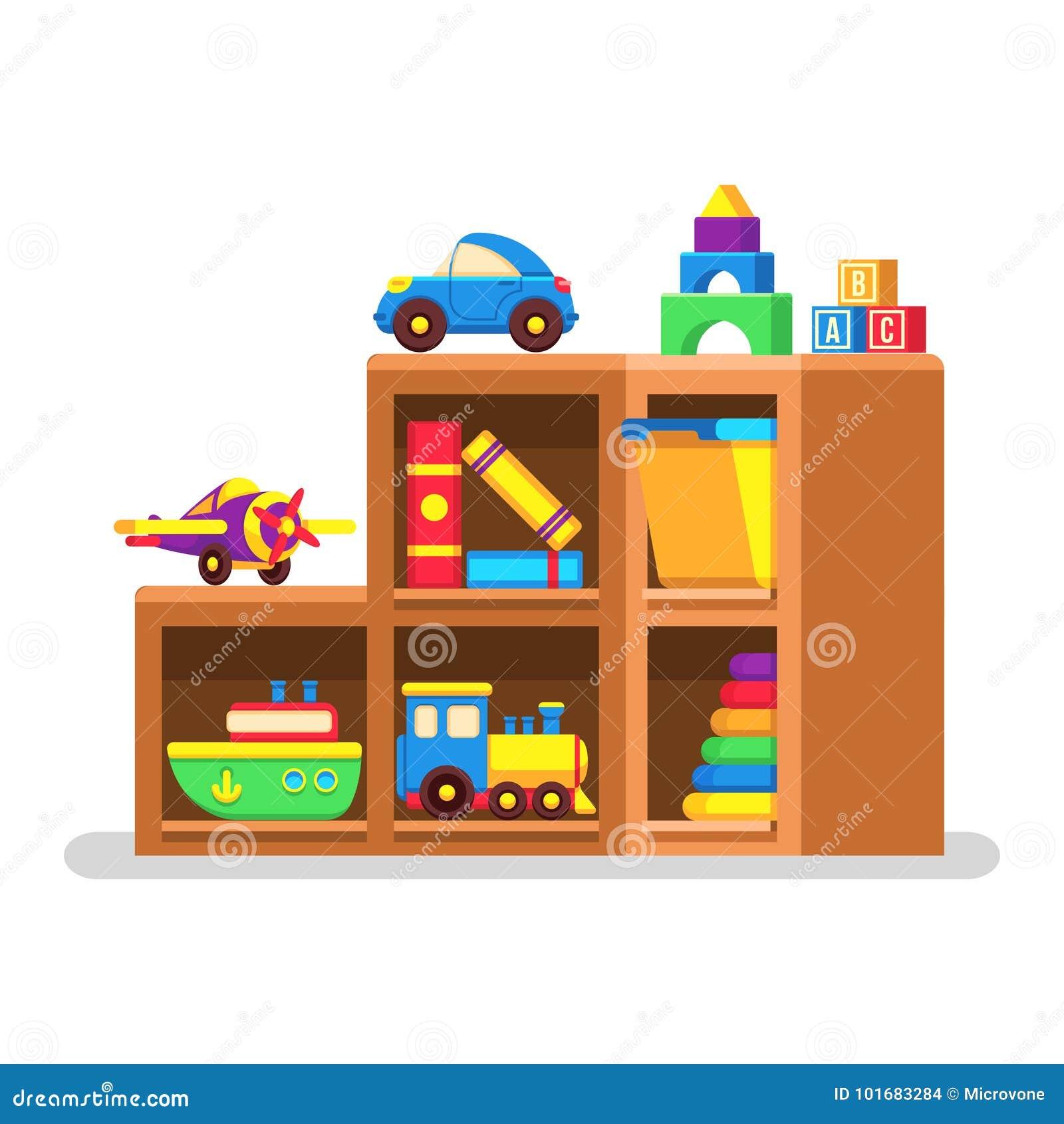 Giocattoli dei bambini sullo scaffale di legno