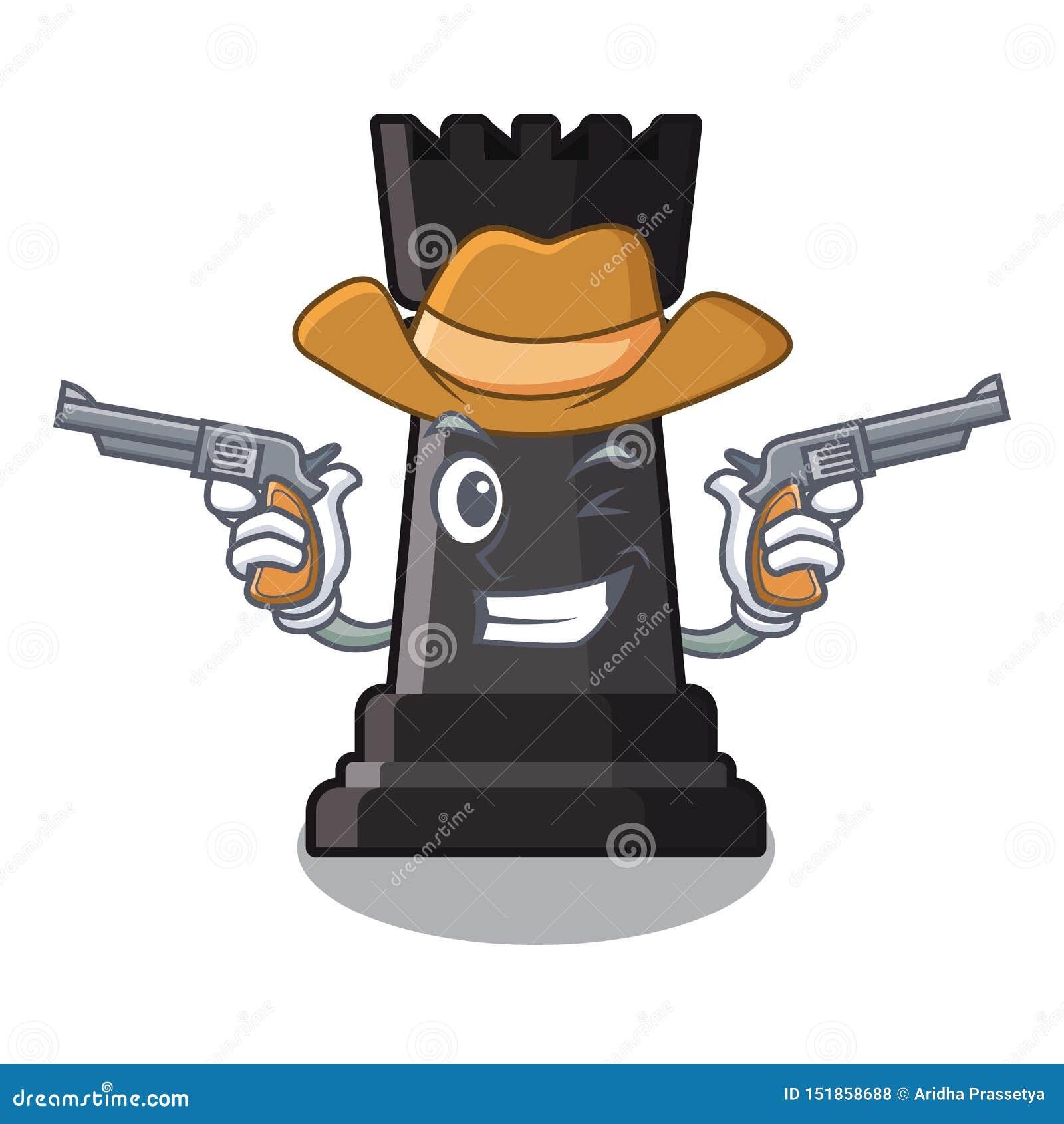 Giocattoli di scacchi del corvo del cowboy sopra la tavola del fumetto