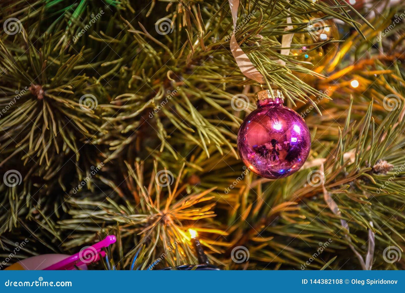 Giocattolo dell albero di Natale su un primo piano del ramo