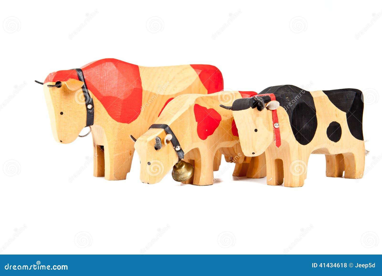 Giocattolo di legno della mucca fotografia stock for Planimetrie della casetta di legno