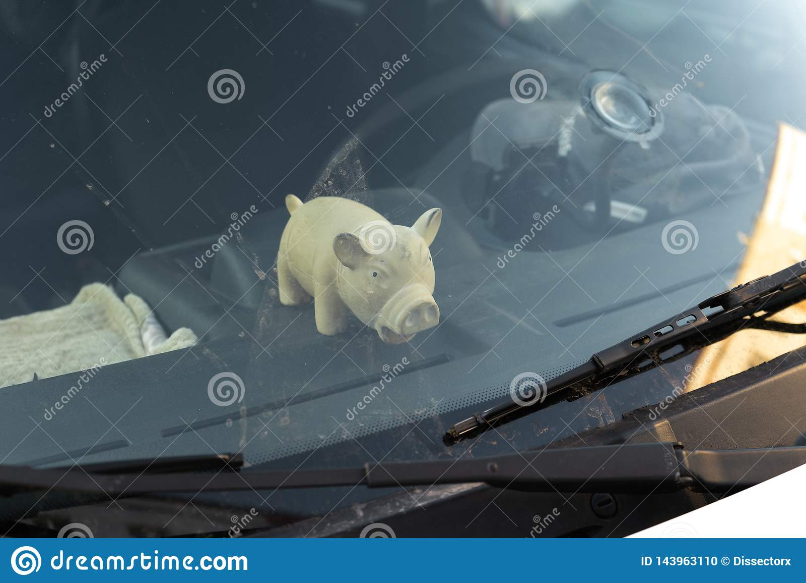 Giocattolo grasso sveglio del maiale dietro la finestra del parabrezza di un automobile