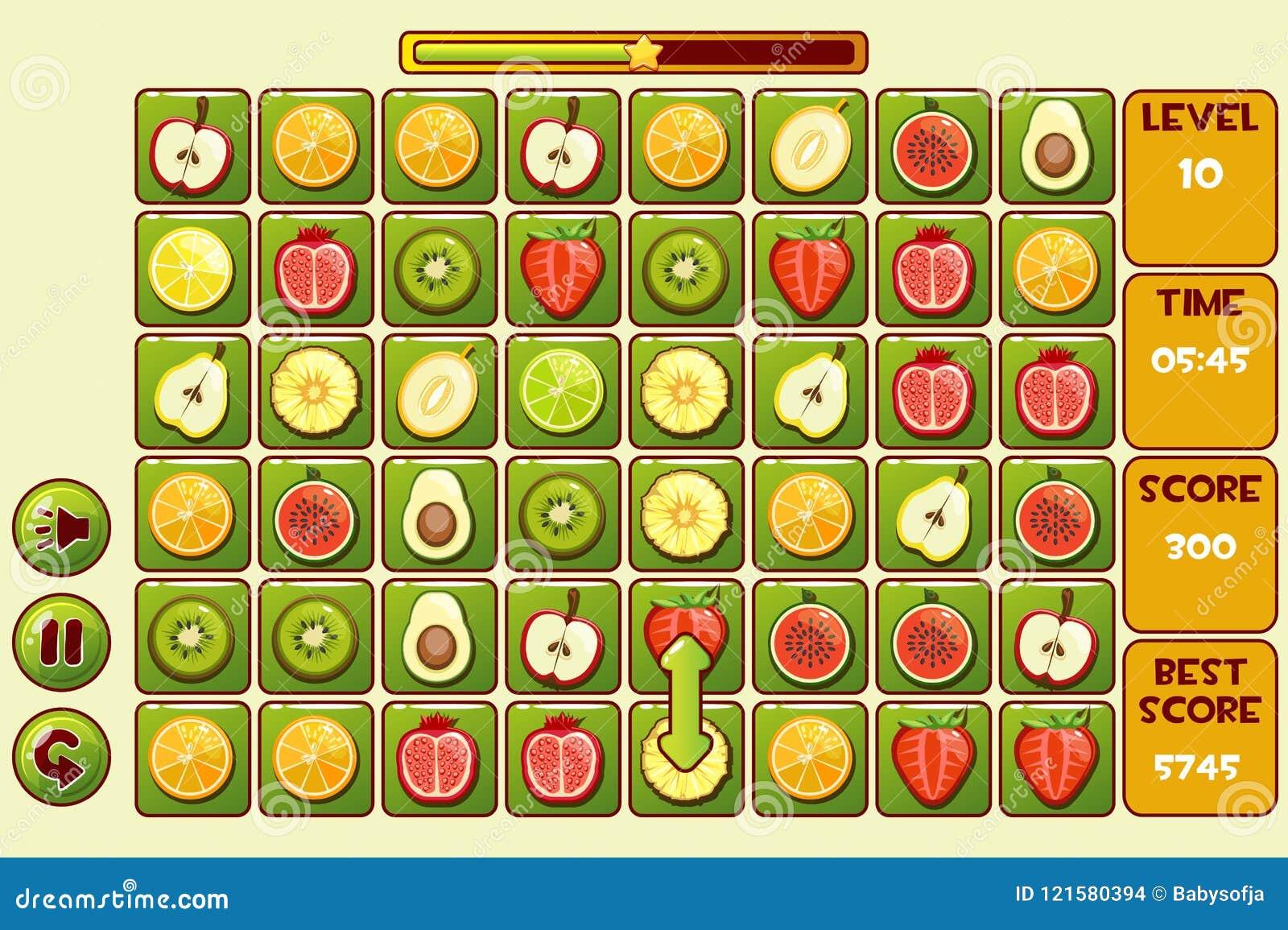 Giochi della FRUTTA Match3 dell interfaccia di vettore Frutti differenti, icone dei beni del gioco