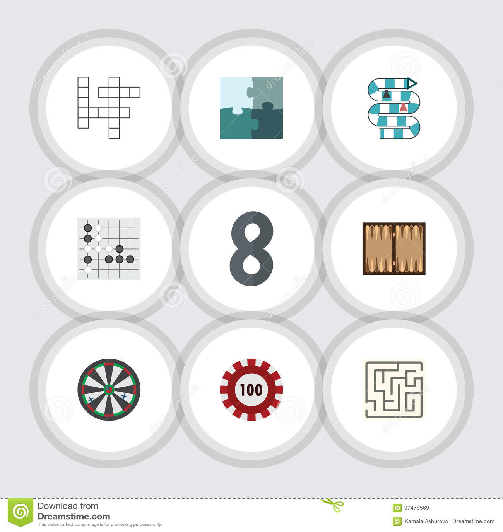 Giochi piani dell icona messi di Gomoku, della congettura, del poker e di altri oggetti di vettore Inoltre include il labirinto,