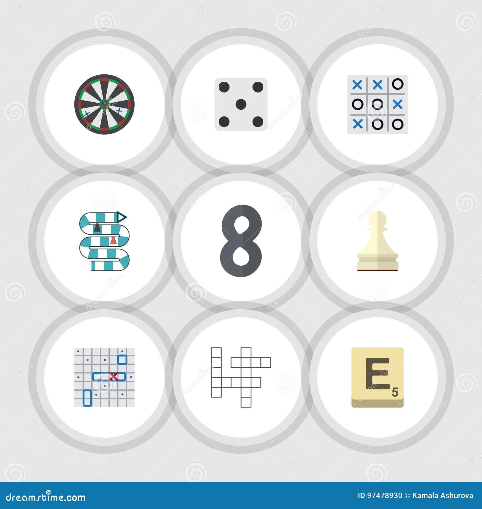 Giochi piani dell icona messi di oggetti con diversi giocatori ed altro di lotta di mare, del pegno, di vettore Inoltre include i