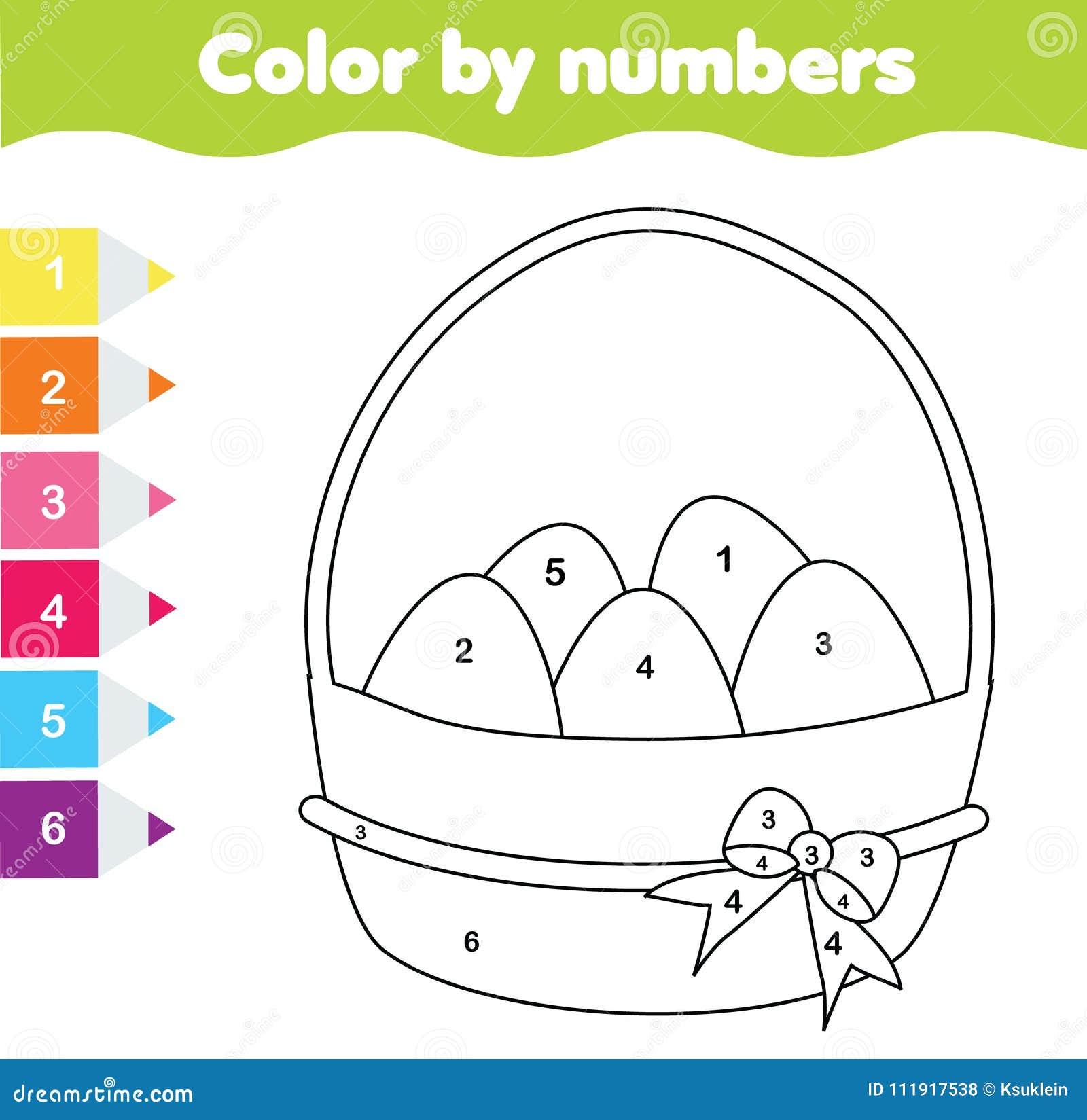Gioco Del Disegno Di Pasqua Colore Dai Numeri Foglio Di Lavoro