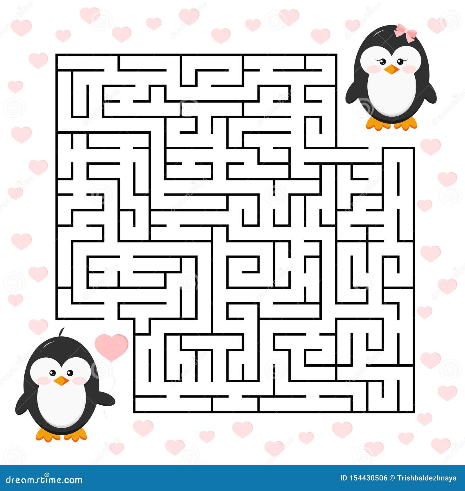 Gioco del labirinto di amore per il ragazzo del pinguino del fumetto di istruzione dei bambini con impulso di forma del cuore e l