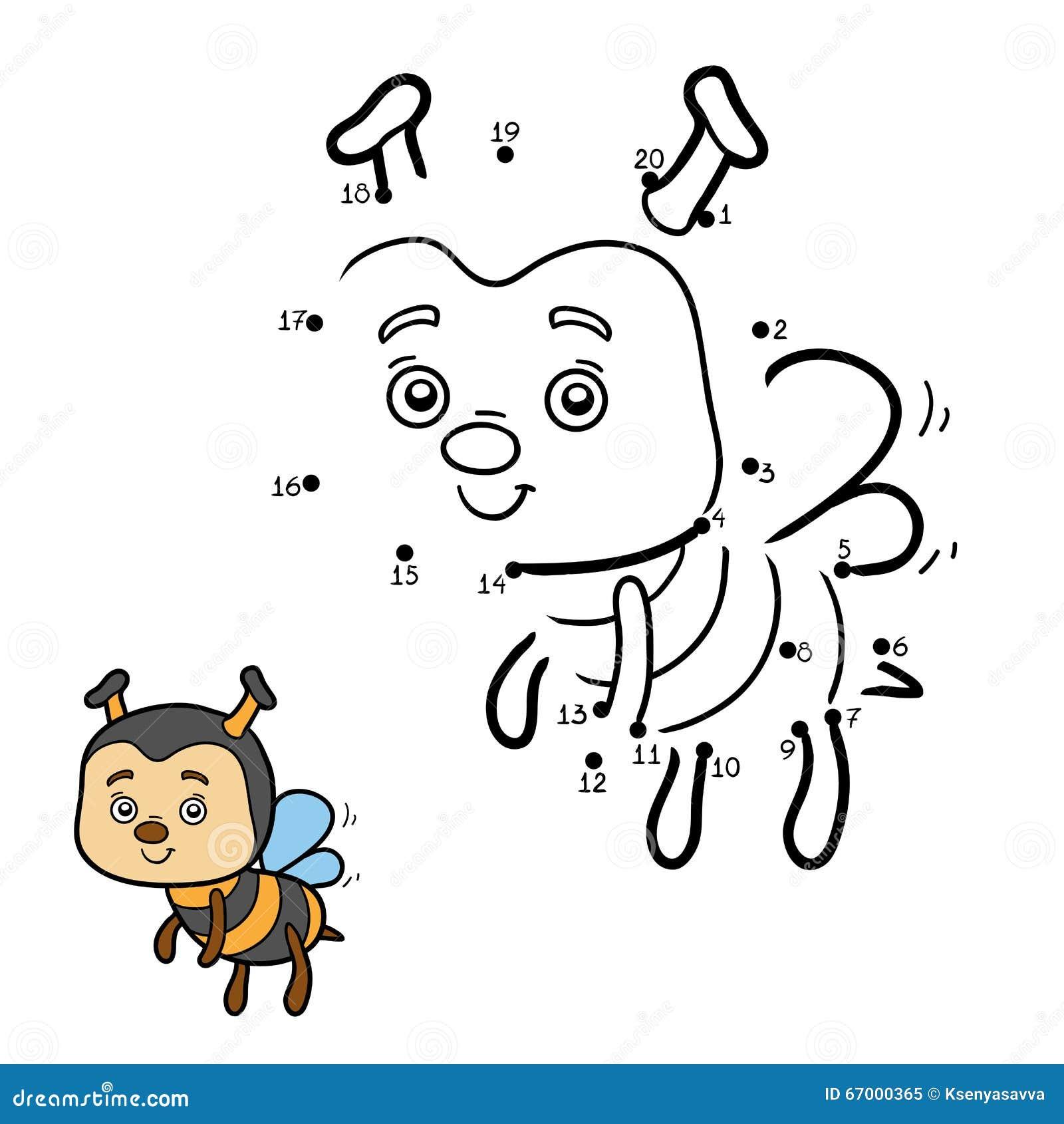 Gioco di numeri per i bambini ape illustrazione - Colore per numeri per i bambini ...