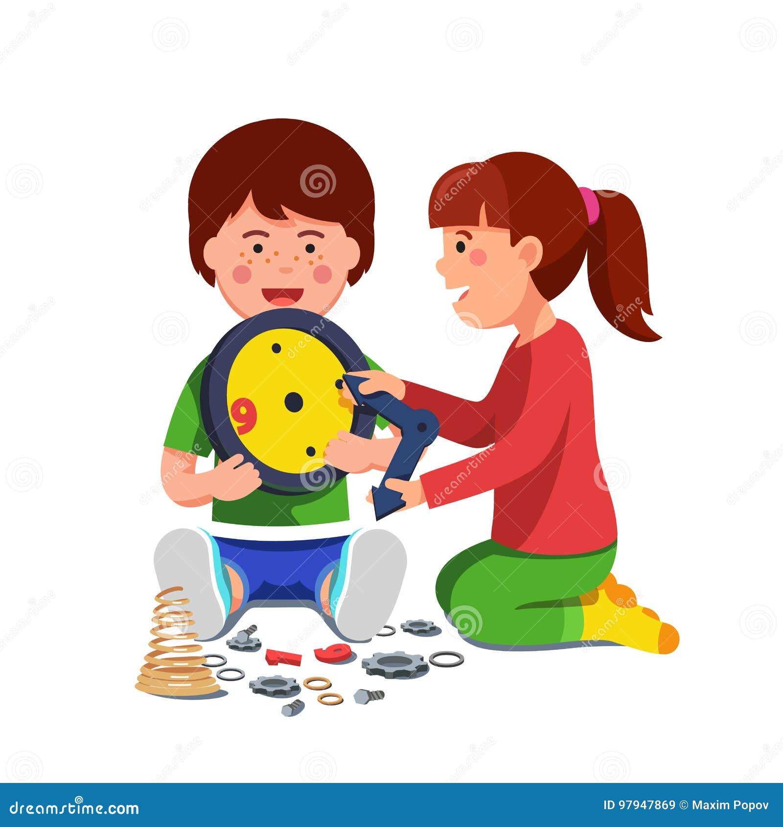 Gioco di seduta della ragazza e del ragazzo con l orologio meccanico