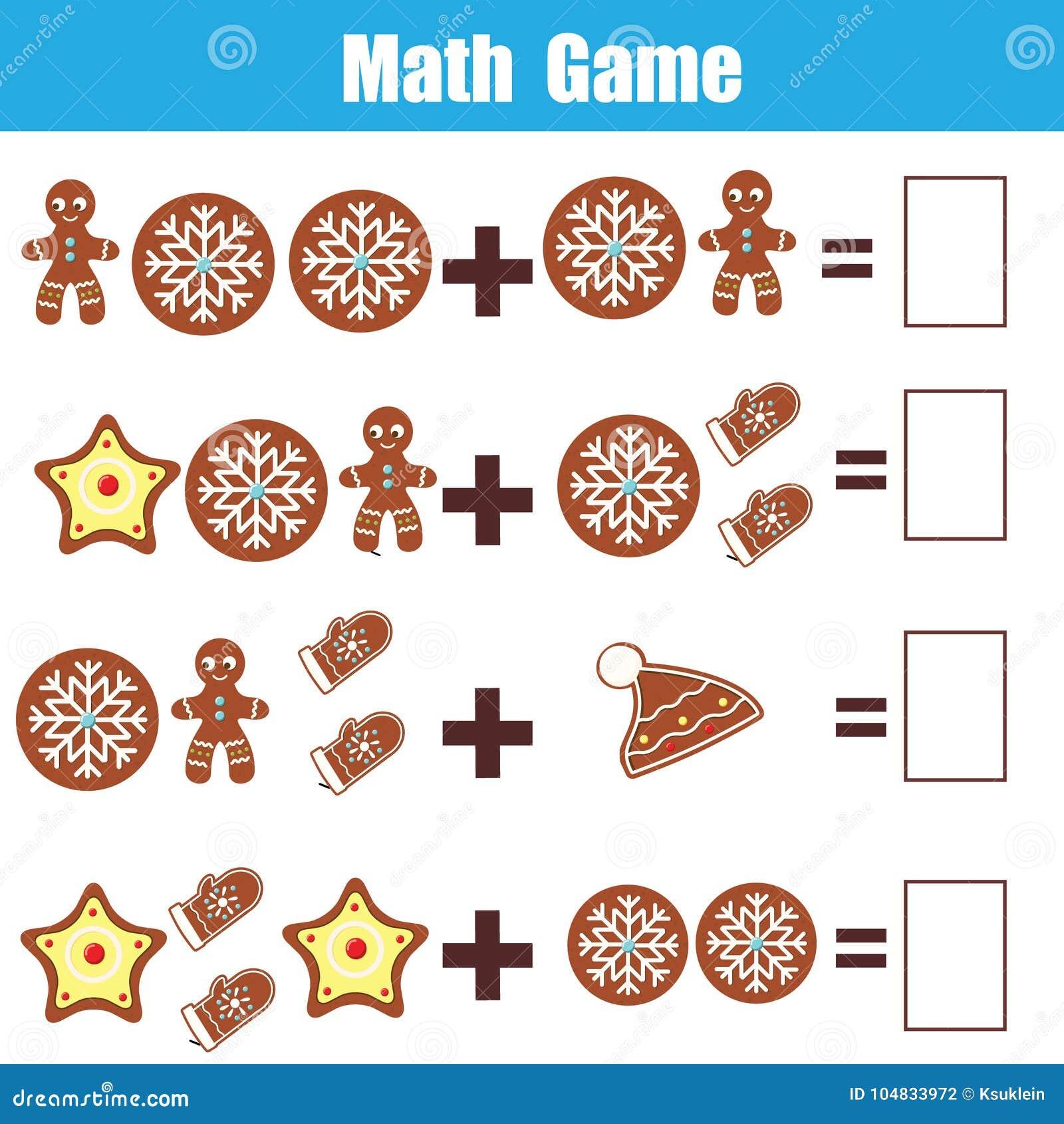 Gioco educativo di per la matematica per i bambini Conteggio delle equazioni Foglio di lavoro dell aggiunta Tema di natale