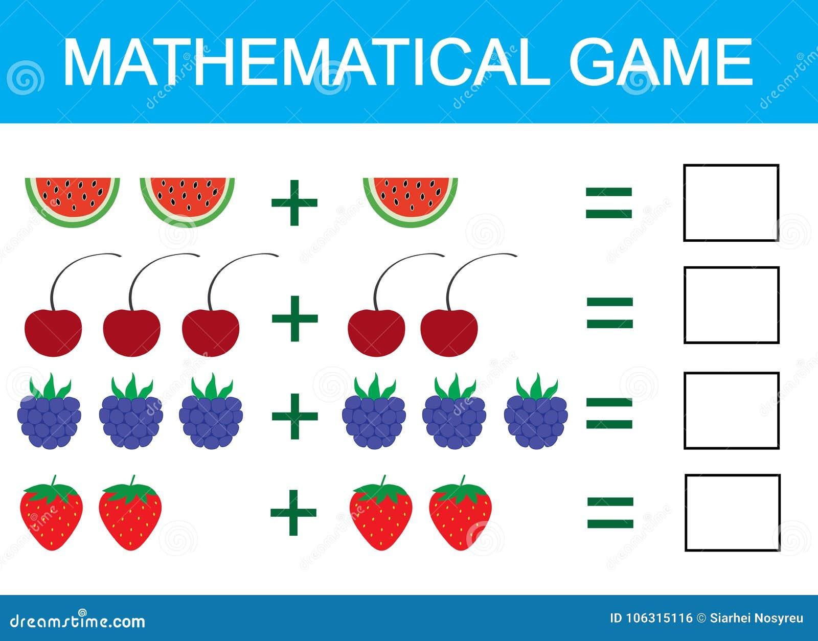 Gioco matematico per i bambini Imparando aggiunta per i bambini, contante attività Illustrazione di vettore