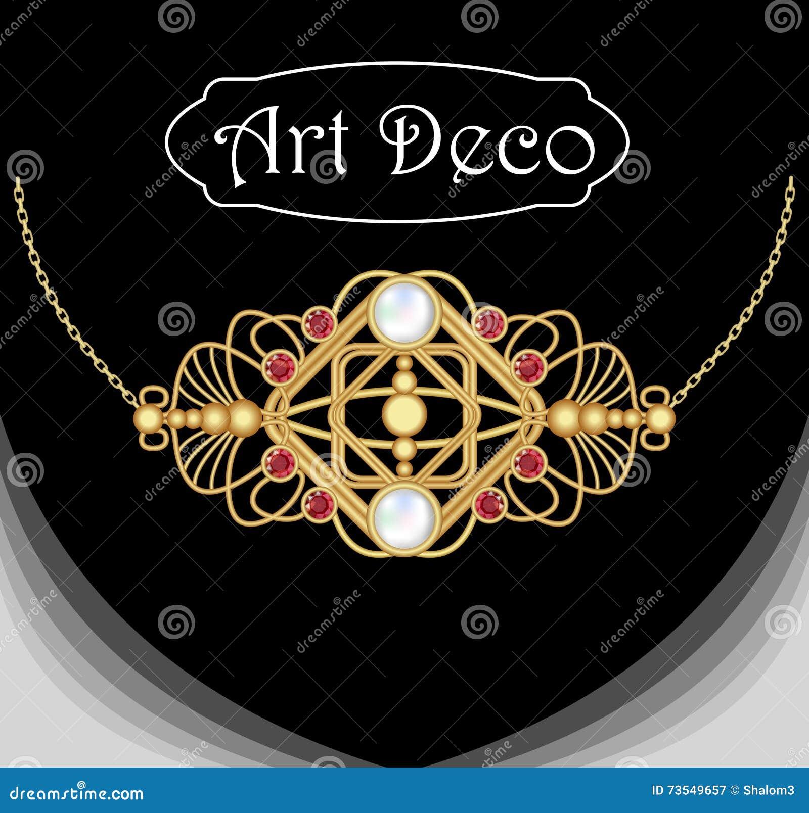 Gioiello di art deco collana d 39 annata dell 39 oro gioiello for Costruttori di case in stile vittoriano