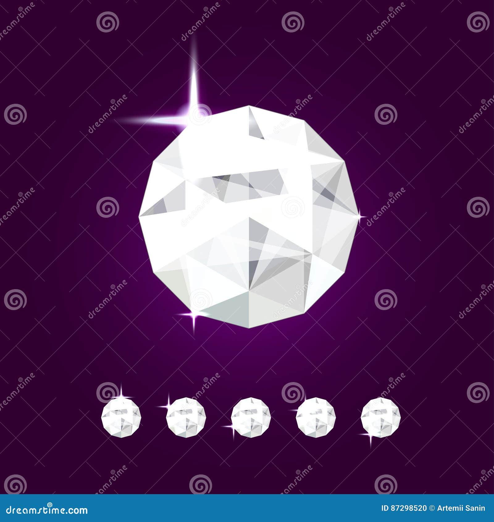 Gioiello realistico del diamante Illustrazione della gemma di vettore