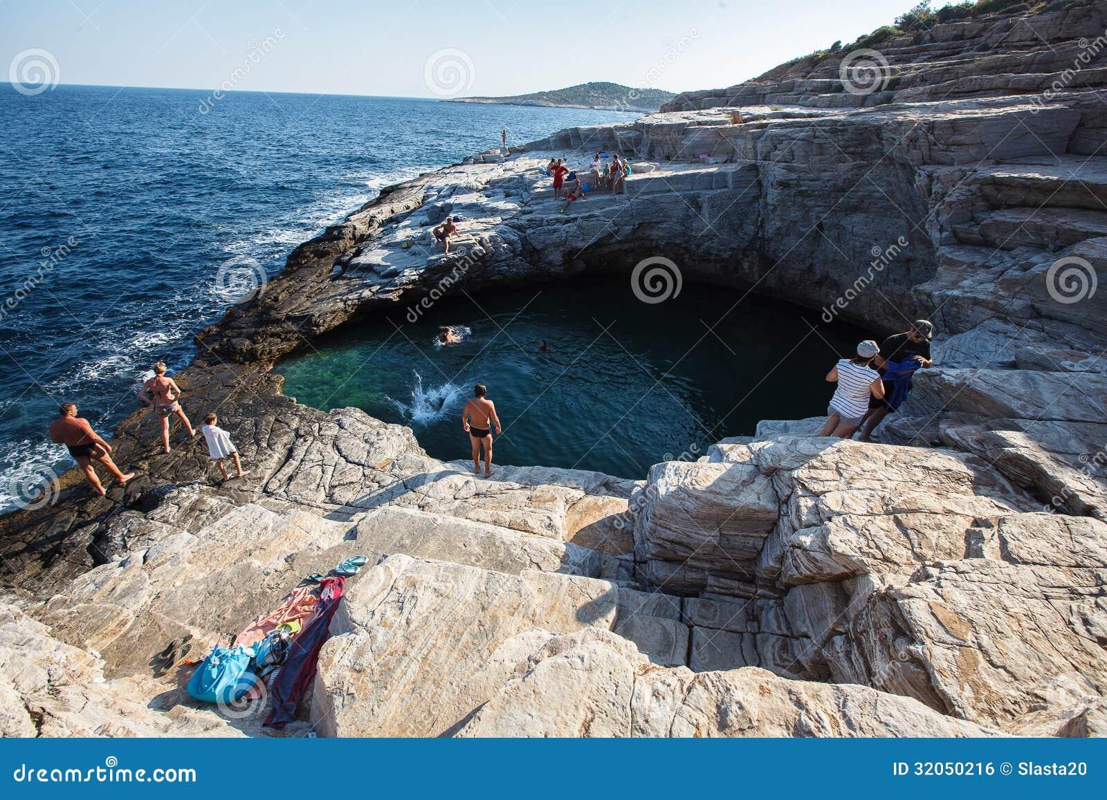 Giola, Thassos, Natural basin .Northern Greece June 26th