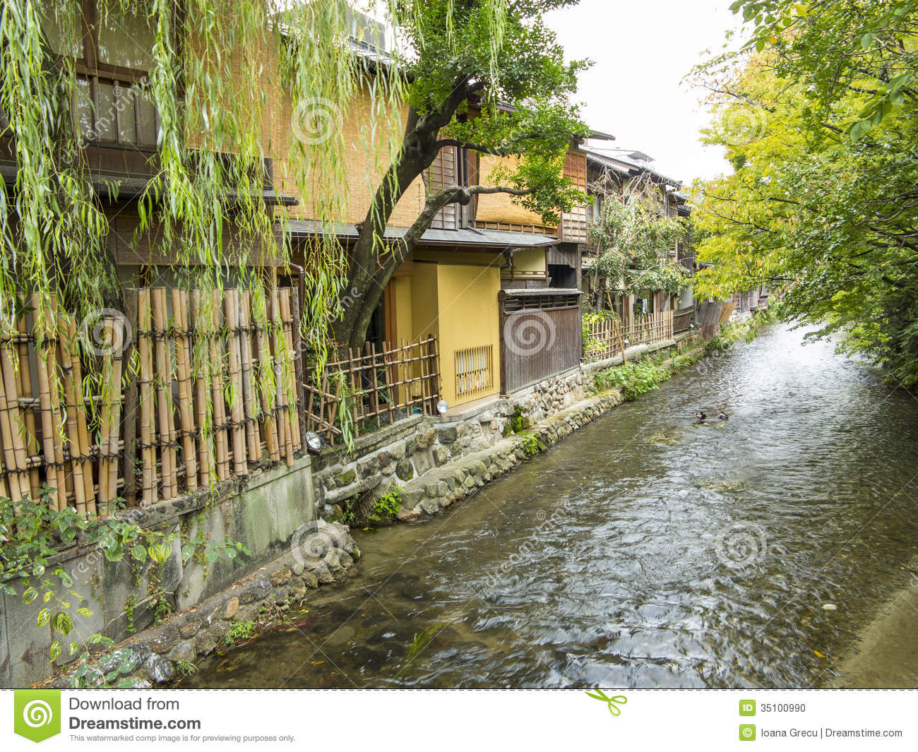 Gion old houses and stream
