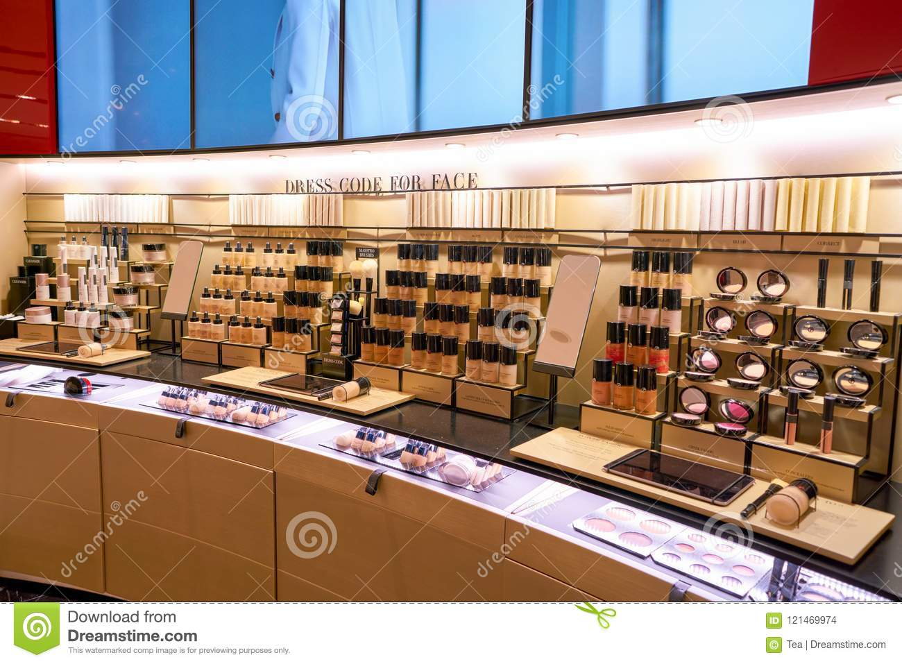 ROME, ITALY - CIRCA NOVEMBER, 2017  Giorgio Armani beauty products on  display at a second flagship store of Rinascente in Rome. 99a5f83c476