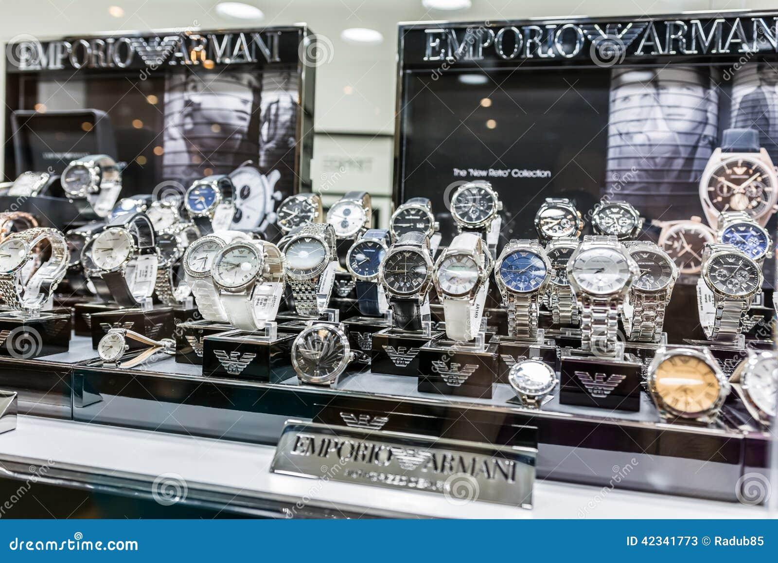 Giorgio Armani Watches In Shop Window Editorial Stock