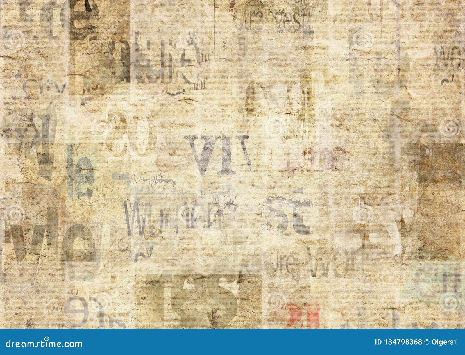 Giornale con il fondo di carta illeggibile d annata di struttura di vecchio lerciume