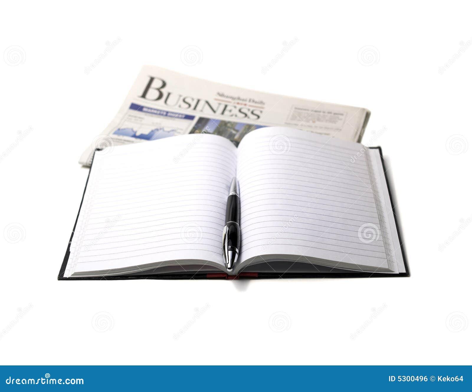 Download Giornale, penna e taccuino fotografia stock. Immagine di legale - 5300496