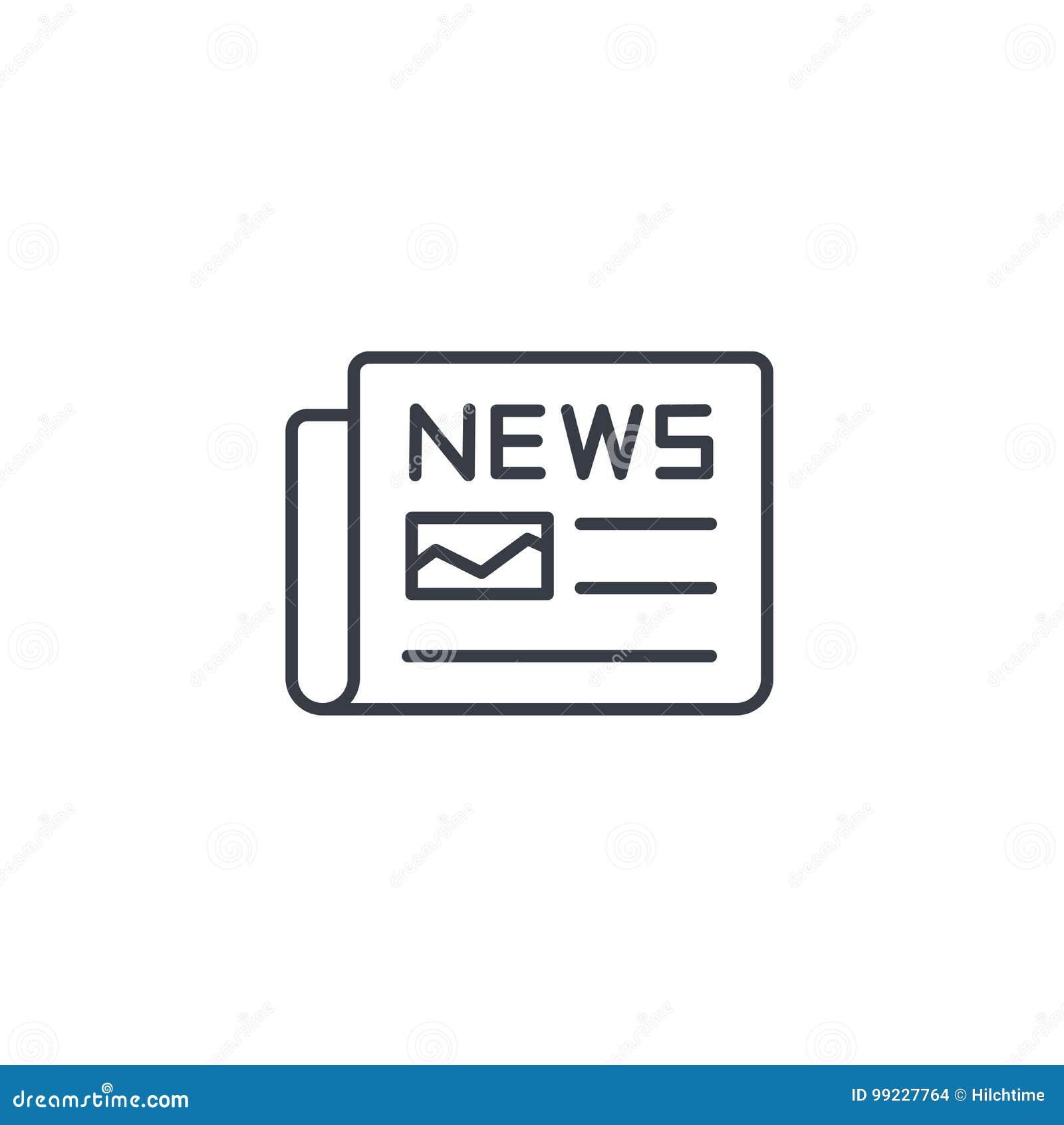 Giornale, stampa quotidiana, contenuto di notizie, linea sottile icona dell articolo Simbolo lineare di vettore
