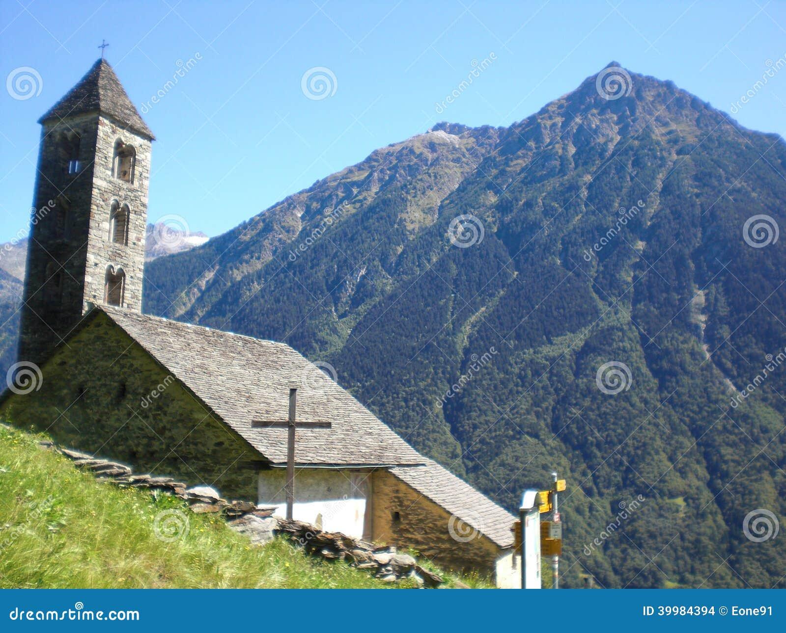 Giornico: landscape with St.Nicolaos  church