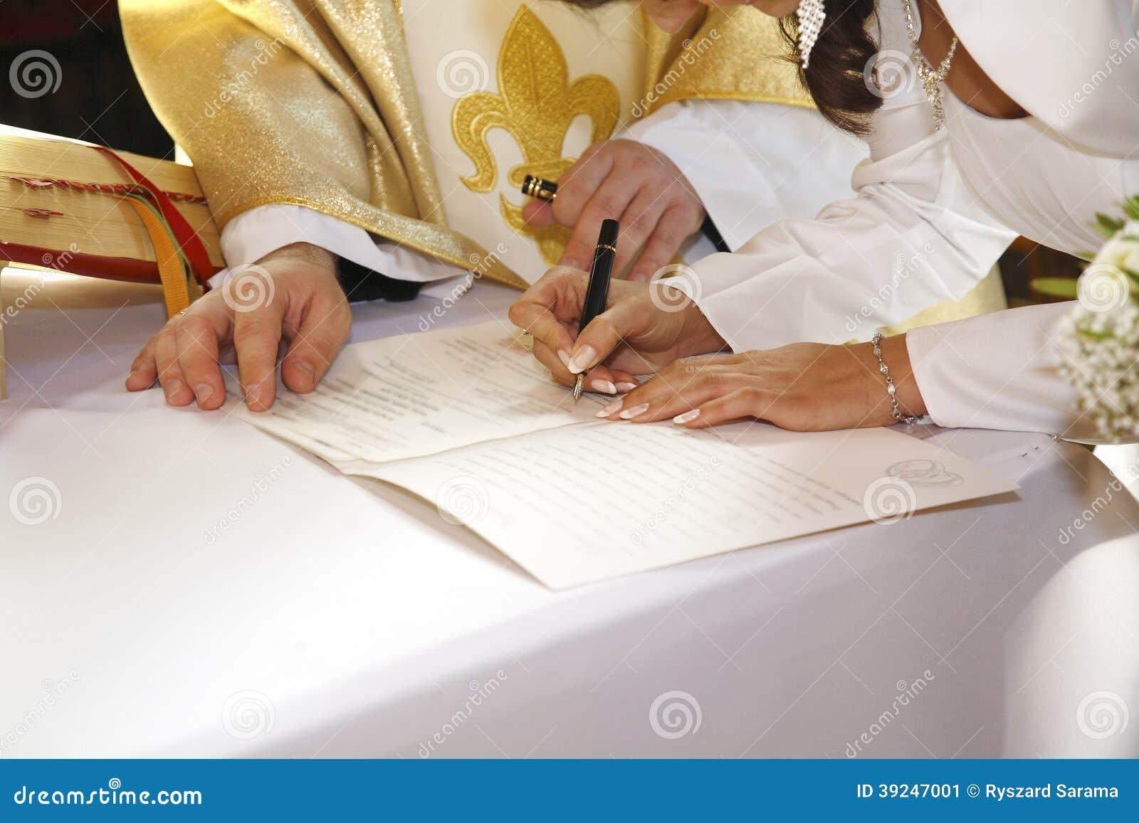 Giorno delle nozze, firmante il certificato di matrimonio