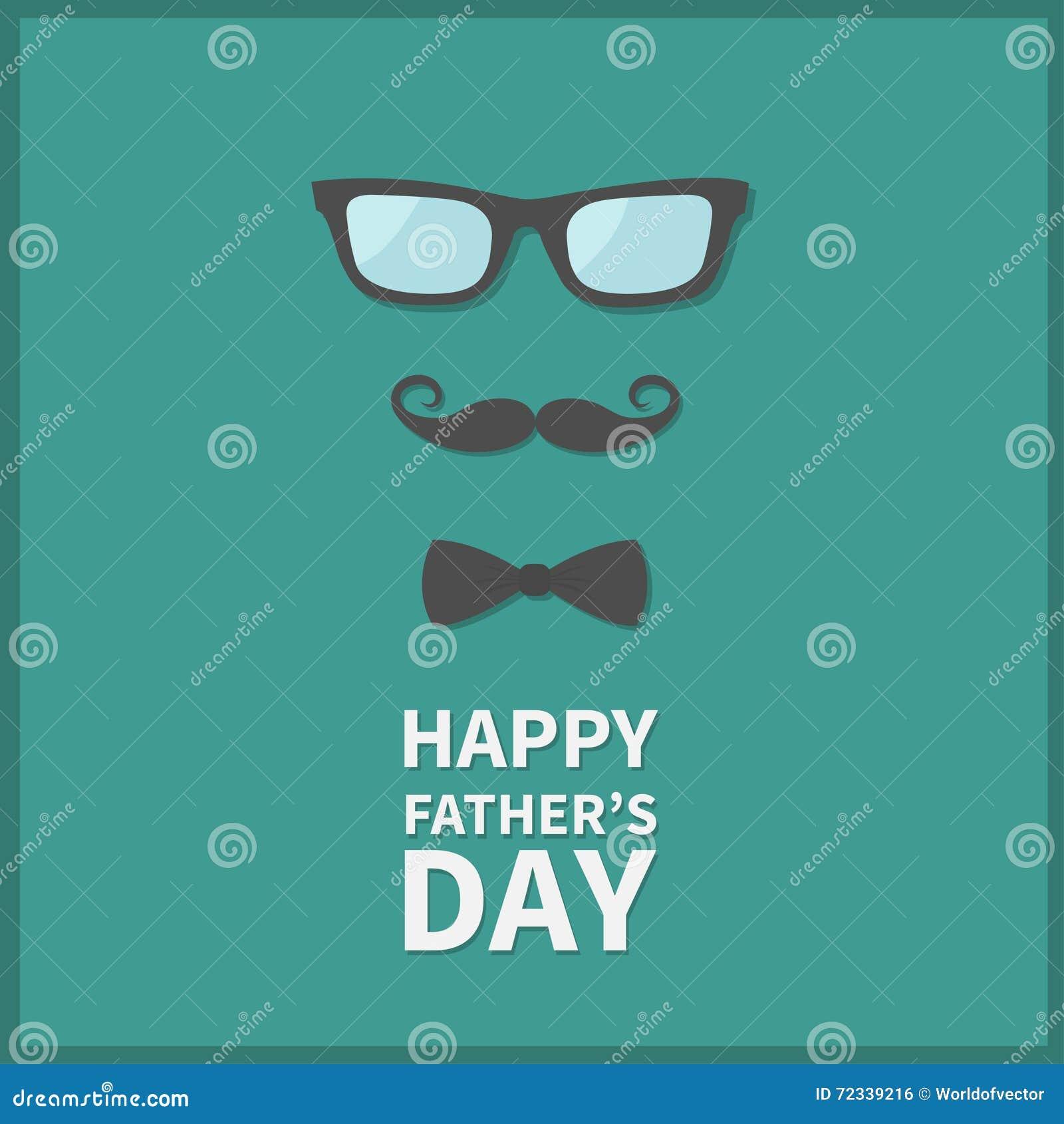 Giorno di padri felice Cartolina d auguri con i baffi del ricciolo, il farfallino del collo e gli occhiali Grandi baffi ed occhia