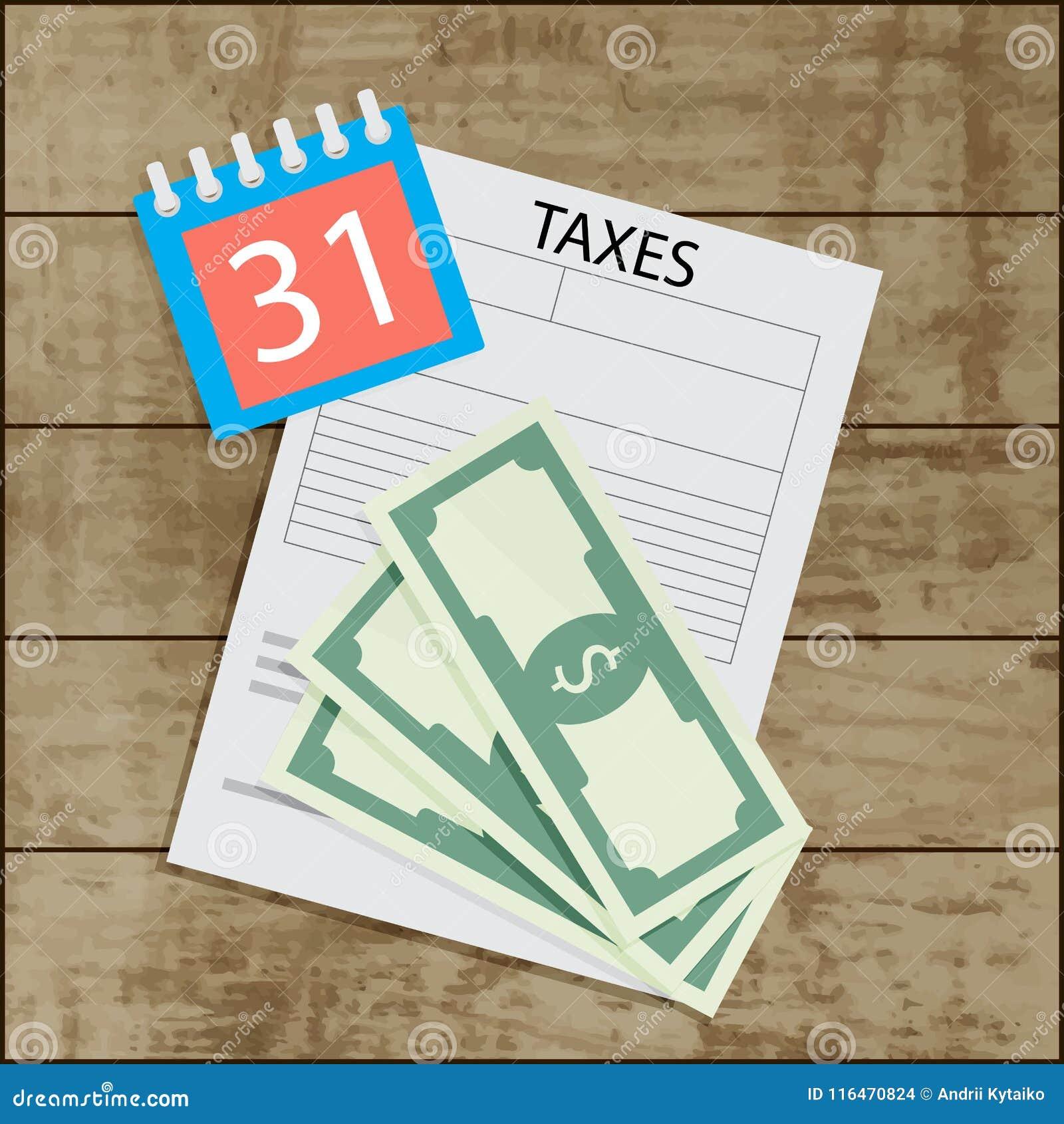 Imposta Calendario.Giorno Di Paga Di Imposta Banconota E Calendario