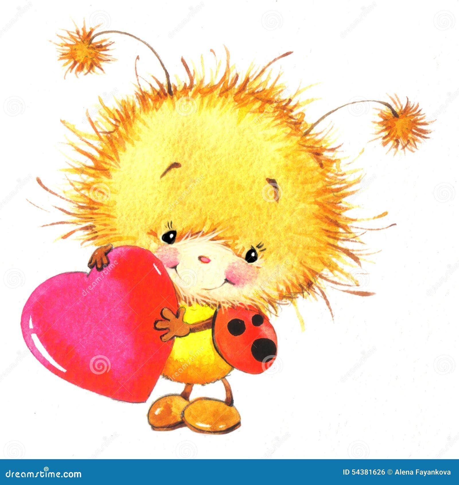 Giorno di S. Valentino e coccinella sveglia, cuore rosso