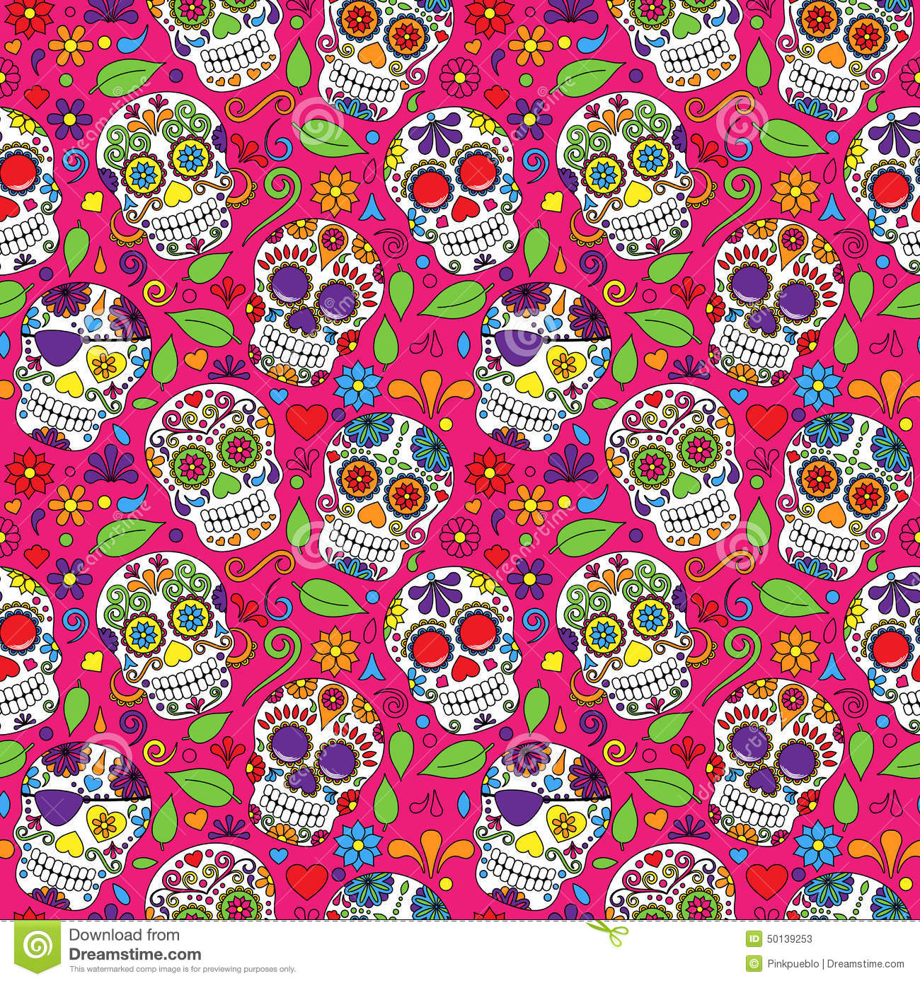Giorno di Sugar Skull Seamless Vector Background morto