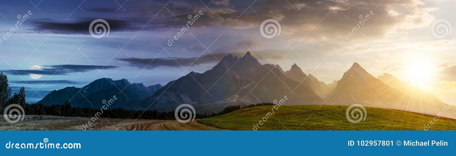 Giorno e notte sopra zona rurale in montagne di Tatra