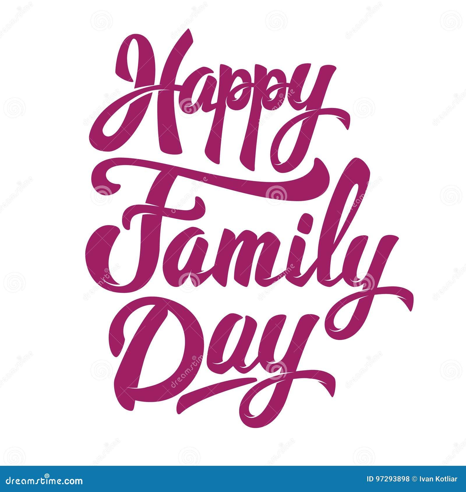 Giorno Felice Della Famiglia Frase Disegnata A Mano Delliscrizione