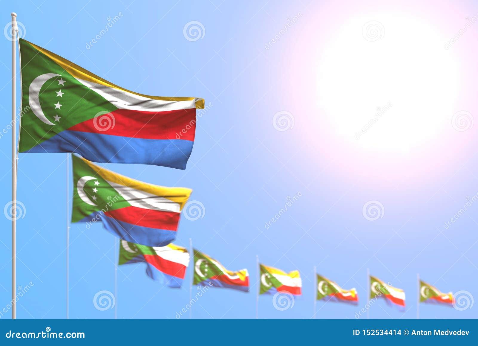 Giorno piacevole dell illustrazione della bandiera 3d - molte bandiere delle Comore hanno disposto diagonale con il fuoco seletti