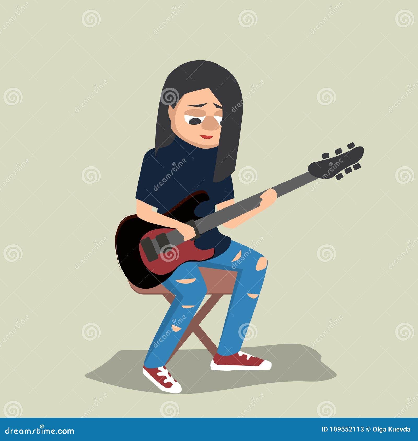 Giovane adolescente che gioca il fumetto di vettore della chitarra