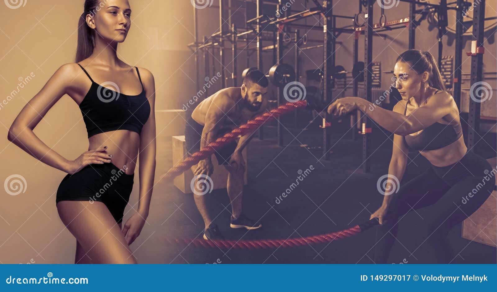 Giovane atleta femminile muscolare, collage creativo